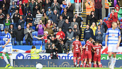 9th September 2017, Madejski Stadium, Reading, England; EFL Championship football, Reading versus Bristol City; fans applaud Aden Flint of Bristol City as he celebrates scoring the first goal with his team