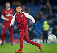 Alexis Sanchez of Arsenal during the pre match warm ups ahead of the Carabao Cup semi final 1st leg match between Chelsea and Arsenal at Stamford Bridge, London, England on 10 January 2018. Photo by Andy Rowland.