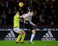 Blackburn Rovers' Lewis Travis vies for possession with Sheffield United's Paul Coutts<br /> <br /> Photographer Chris Vaughan/CameraSport<br /> <br /> The EFL Sky Bet Championship - Sheffield United v Blackburn Rovers - Saturday 29th December 2018 - Bramall Lane - Sheffield<br /> <br /> World Copyright © 2018 CameraSport. All rights reserved. 43 Linden Ave. Countesthorpe. Leicester. England. LE8 5PG - Tel: +44 (0) 116 277 4147 - admin@camerasport.com - www.camerasport.com