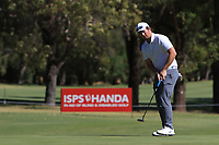 Sam Horsfield (ENG) in action on the 1st during Round 2 Matchplay of the ISPS Handa World Super 6 Perth at Lake Karrinyup Country Club on the Sunday 11th February 2018.<br /> Picture:  Thos Caffrey / www.golffile.ie<br /> <br /> All photo usage must carry mandatory copyright credit (&copy; Golffile | Thos Caffrey)