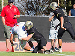 Palos Verdes, CA 10/21/16 - \r4\ and unidentified Peninsula player(s) in action during the CIF Southern Section Bay League Redondo Union - Palos Verdes Peninsula game at Peninsula High School.
