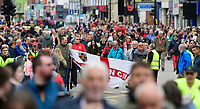 Lincoln City fans during an open top bus through Lincoln&rsquo;s High Street as they celebrate their team winning the EFL Sky Bet League Two<br /> <br /> Photographer Chris Vaughan/CameraSport<br /> <br /> The EFL Sky Bet League Two - Lincoln City - Champions Parade - Sunday 5th May 2019 - Lincoln<br /> <br /> World Copyright &copy; 2019 CameraSport. All rights reserved. 43 Linden Ave. Countesthorpe. Leicester. England. LE8 5PG - Tel: +44 (0) 116 277 4147 - admin@camerasport.com - www.camerasport.com