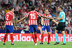 Atletico de Madrid's Jose Maria Gimenez, Stefan Savic and Marcos Llorente have words with Spanish referee Guillermo Cuadra Fernandez during La Liga match. August 18,2019. (ALTERPHOTOS/Acero)