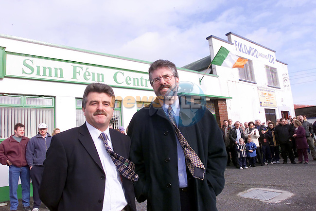 Arthur Morgan and Gerry Adams at the opening of the Sinn Fein centre..Picture Fran Caffrey Newsfile.