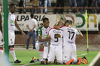 NEIVA - COLOMBIA, 19-08-2018: Jugadores de Once Caldas celebran después de anotar el segundo gol a Atlético Huila durante partido por la fecha 5 de la Liga Águila II 2018 jugado en el estadio Guillermo Plazas Alcid de la ciudad de Neiva. / Players of Once Caldas celebrate after scoring the second goal to Atletico Huila during match for the date 5 of the Aguila League II 2018 played at Guillermo Plazas Alcid in Neiva city. VizzorImage / Sergio Reyes / Cont
