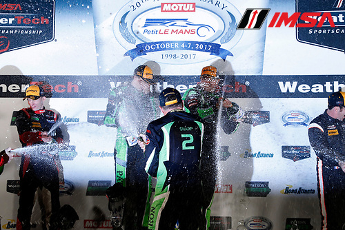 IMSA WeatherTech SportsCar Championship<br /> Motul Petit Le Mans<br /> Road Atlanta, Braselton GA<br /> Saturday 7 October 2017<br /> 2, Nissan DPi, P, Scott Sharp, Ryan Dalziel, Brendon Hartley, champagne<br /> World Copyright: Michael L. Levitt<br /> LAT Images
