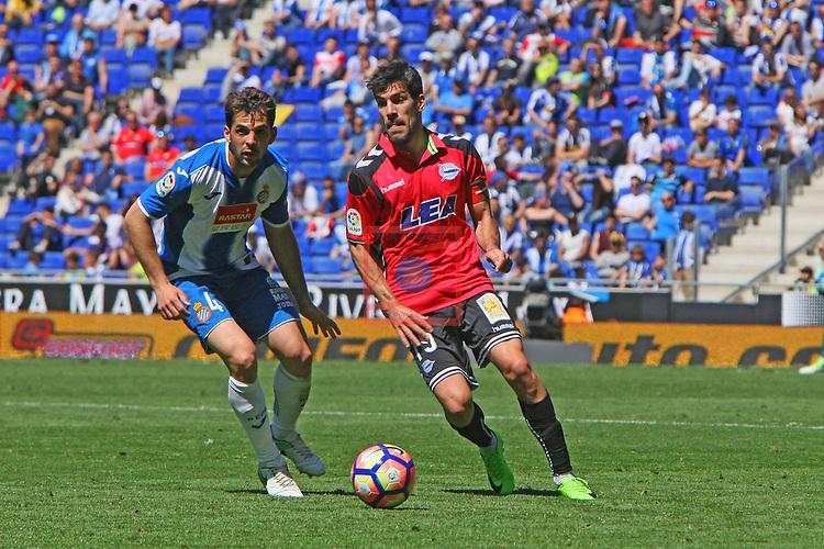League Santander 2016/2017. Game: 31.<br /> RCD Espanyol vs Deportivo Alaves: 1-0.<br /> Victor Sanchez vs Manu Garcia.