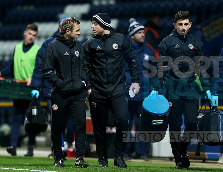 Del Geary and Travis Binnion Sheffield United coaching staff during the FA Youth Cup 3rd Round match at Deepdale Stadium, Preston. Picture date: November 30th, 2016. Pic Matt McNulty/Sportimage