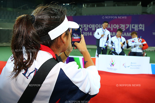 Yui Kamiji (JPN),<br /> OCTOBER 23, 2014 -  WheelChair Tennis : <br /> Men's Singles Victory ceremony<br /> at Yeorumul Tennis Courts<br /> during the 2014 Incheon Asian Para Games <br /> in Incheon, South Korea. <br /> (Photo by Shingo Ito/AFLO SPORT)