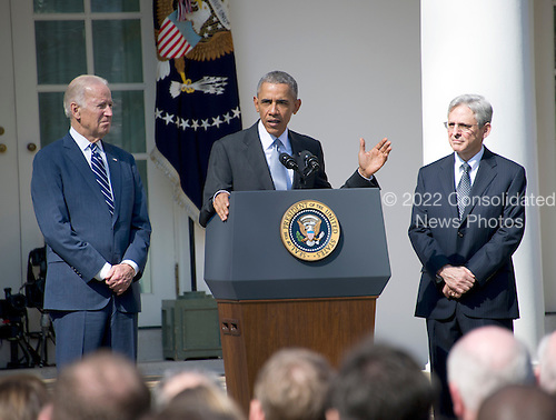 United States President Barack Obama, center, introduces Judge Merrick Garland, chief justice for the US Court of Appeals for the District of Columbia Circuit, right, as his nominee to replace the late Associate Justice Antonin Scalia on the U.S. Supreme Court in the Rose Garden of the White House in Washington, D.C. on Wednesday, March 16, 2016. US Vice President Joe Biden looks on from left.<br /> Credit: Ron Sachs / CNP
