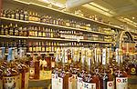 Liquor store interior.