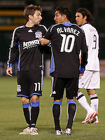 Bobby Convey (11) and Arturo Alvarez (10) line up. San Jose Earthquakes tied Los Angeles Galaxy 1-1 at the McAfee Colisum in Oakland, California on April 18, 2009.