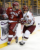Alex Biega (Harvard - 3), Matt Price (BC - 25) - The Boston College Eagles defeated the Harvard University Crimson 6-0 on Monday, February 1, 2010, in the first round of the 2010 Beanpot at the TD Garden in Boston, Massachusetts.