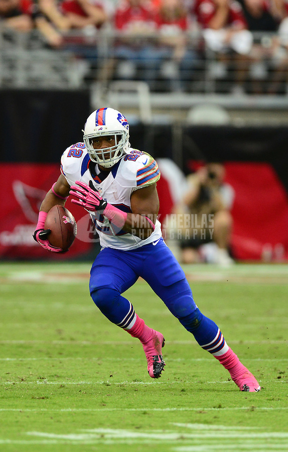 Oct. 14, 2012; Glendale, AZ, USA; Buffalo Bills running back (22) Fred Jackson against the Arizona Cardinals at University of Phoenix Stadium. The Bills defeated the Cardinals 19-16 in overtime. Mandatory Credit: Mark J. Rebilas-