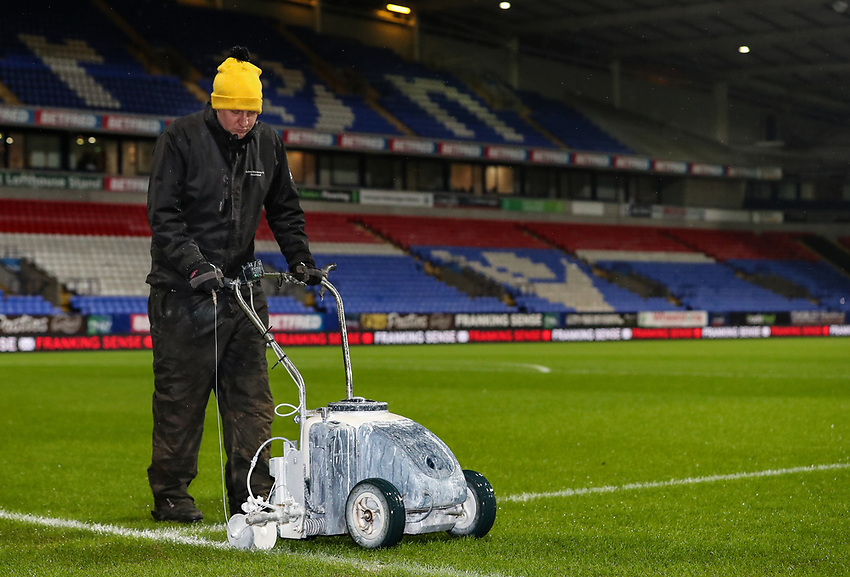 Last minute preparations to the pitch before kick off <br /> <br /> Photographer Andrew Kearns/CameraSport<br /> <br /> The EFL Sky Bet Championship - Bolton Wanderers v Reading - Tuesday 29th January 2019 - University of Bolton Stadium - Bolton<br /> <br /> World Copyright © 2019 CameraSport. All rights reserved. 43 Linden Ave. Countesthorpe. Leicester. England. LE8 5PG - Tel: +44 (0) 116 277 4147 - admin@camerasport.com - www.camerasport.com