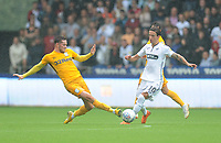 Swansea City's Bersant Celina is tackled by Preston North End's Alan Browne<br /> <br /> Photographer Kevin Barnes/CameraSport<br /> <br /> The EFL Sky Bet Championship - Swansea City v Preston North End - Saturday August 11th 2018 - Liberty Stadium - Swansea<br /> <br /> World Copyright &copy; 2018 CameraSport. All rights reserved. 43 Linden Ave. Countesthorpe. Leicester. England. LE8 5PG - Tel: +44 (0) 116 277 4147 - admin@camerasport.com - www.camerasport.com