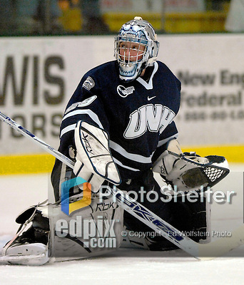 """5 January 2007: University of New Hampshire goaltender Brian Foster (29) from Pembroke, NH, warms up prior to a game against the University of Vermont Catamounts at Gutterson Fieldhouse in Burlington, Vermont. The UNH Wildcats defeated Vermont 7-1 in front of a record setting 48th consecutive sellout at """"the Gut""""...Mandatory Photo Credit: Ed Wolfstein Photo.<br />"""