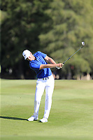Lucas Bjerregaard (DEN) plays his 2nd shot on the 17th hole during Sunday's Final Round 4 of the 2018 Omega European Masters, held at the Golf Club Crans-Sur-Sierre, Crans Montana, Switzerland. 9th September 2018.<br /> Picture: Eoin Clarke | Golffile<br /> <br /> <br /> All photos usage must carry mandatory copyright credit (© Golffile | Eoin Clarke)