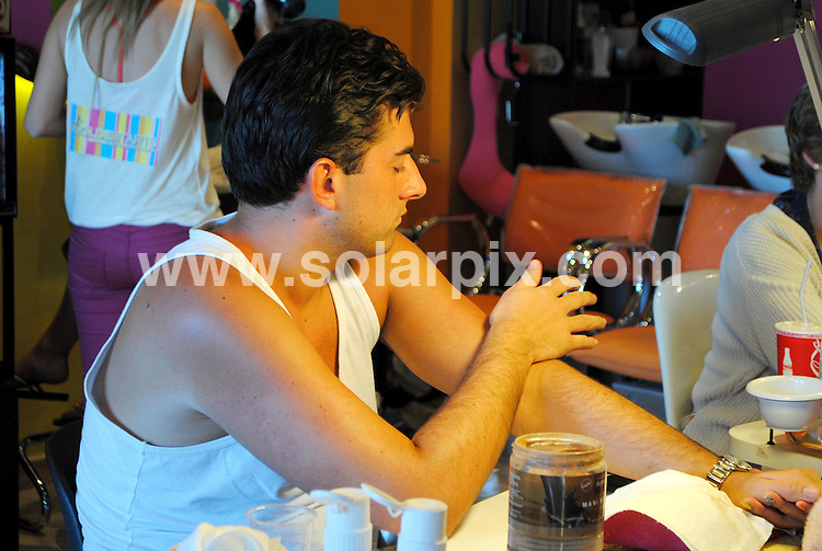 **ALL ROUND EXCLUSIVE PICTURES FROM SOLARPIX.COM**                                             **WORLDWIDE SYNDICATION RIGHTS**                                                                                  Caption: Towie James Argent & Jessica Wright visit a local beauty salon called golden Tarts in Marbella to get some last minute pampering after their week of boot camp gruelling training .The TOWIE star, who's become known for carrying more than a few extra pounds, is competing in the 26-mile race to raise money for Cancer Research UK. .Arge had his nails done & eyebrows threaded whilst Jessica had her hair styled and a spray tan.                                                                         This pic:  James Argent                                                                                           JOB REF: 14572       CMK      DATE: 15.03.2012                                                           **MUST CREDIT SOLARPIX.COM OR DOUBLE FEE WILL BE CHARGED**                                                                      **MUST AGREE FEE BEFORE ONLINE USAGE**                               **CALL US ON: +34 952 811 768 or LOW RATE FROM UK 0844 617 7637**