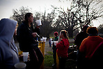 Campers enjoy donated soup by the 12th Street bridge near the SafeGround camp in Sacramento, Calif., January 15, 2011.