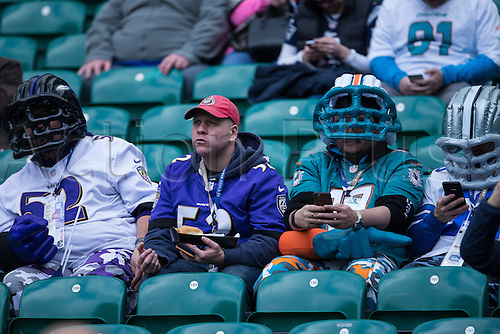 23.10.2016. Twickenham, London, England. NFL International Series. New York Giants versus LA Rams. Fans in inflatable helmets.