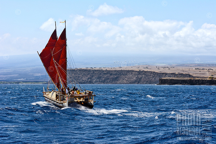 The Polynesian voyaging canoe Hokule'a at South Point, Hawai'i Island, on a statewide sail with sister canoe Hikianalia, June 15, 2013.