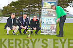 David Keating Professional shows Michea?l O'Donoghue, Jack Buckley Captain and  Billy Boyle Assistant Professional how to putt at the launch of the Killarney Plaza Scratch Cup which will be held in the Killarney Golf club on June 6th