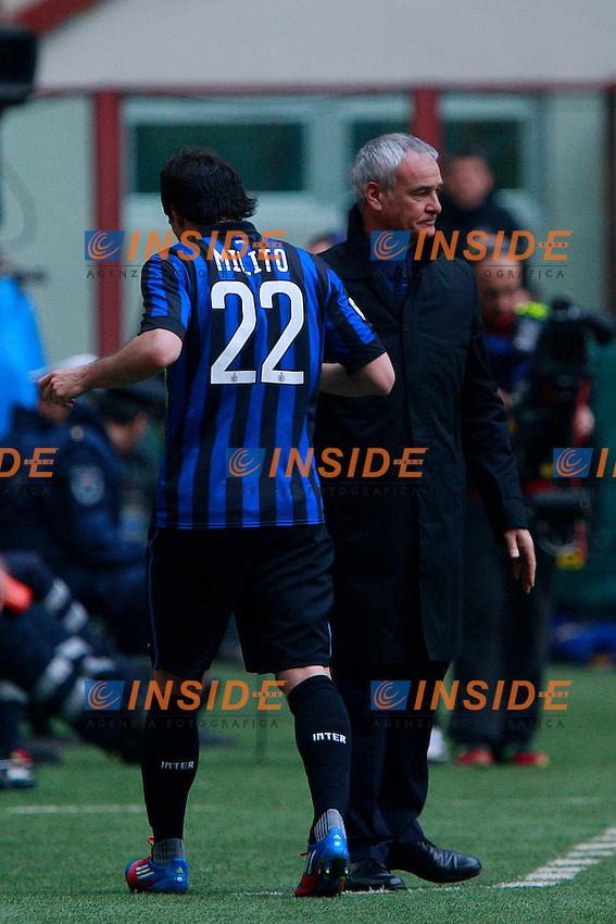 "Claudio Ranieri Diego Milito Inter.Milano 18/03/2012 Stadio ""S.Siro"".Football / Calcio Serie A 2011/12 Inter vs Atalanta.Foto Insidefoto Paolo Nucci."