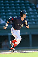 Shortstop Ryan Fitzgerald (24) of the Greenville Drive bats runs out a batted ball in Game 1 of a doubleheader against the Rome Braves on Friday, August 3, 2018, at Fluor Field at the West End in Greenville, South Carolina. Rome won, 7-6. (Tom Priddy/Four Seam Images)