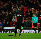 2nd December 2017, bet365 Stadium, Stoke-on-Trent, England; EPL Premier League football, Stoke City versus Swansea City;  Jordan Ayew of Swansea City looks despondent as Stoke City take a 2-1 lead in the 40th minute
