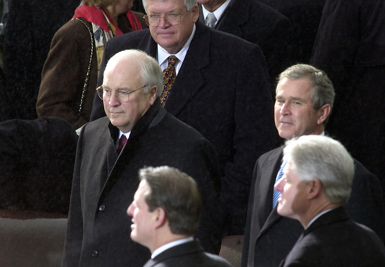 Vice President Dick Cheney, Vise President Al Gore, President George W. Bush and President Bill Clinton during the 2001 Inauguration of George W. Bush for his first term as President of the United States.