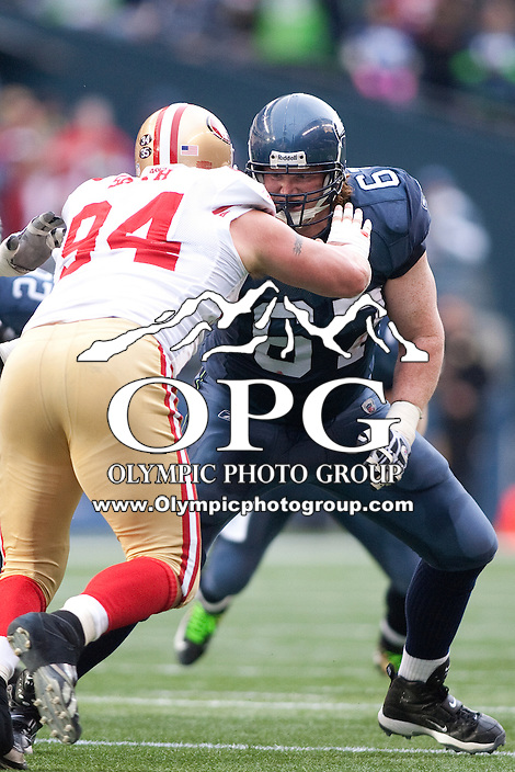 Dec 24, 2011:  Seattle's #67 Paul McQuistan against San Francisco at Century Link Stadium in Seattle WA.  San Francisco defeated Seattle 19-17.