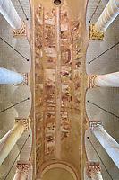 France, Vienne, Saint-Savin-sur-Gartempe, Saint Savin abbey church listed as World Heritage by UNESCO, the painted vault of nave // France, Vienne (86), Saint-Savin-sur-Gartempe, église abbatiale de Saint-Savin-sur-Gartempe classée Patrimoine Mondial de l'UNESCO, la voûte peinte de la nef, scènes retracant les épisodes les plus importants des livres principaux de l'Ancien Testament