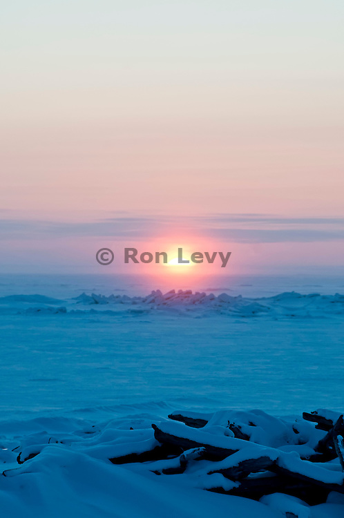 Arctic sunset at minus 30 degrees along Bering Sea, Alaska