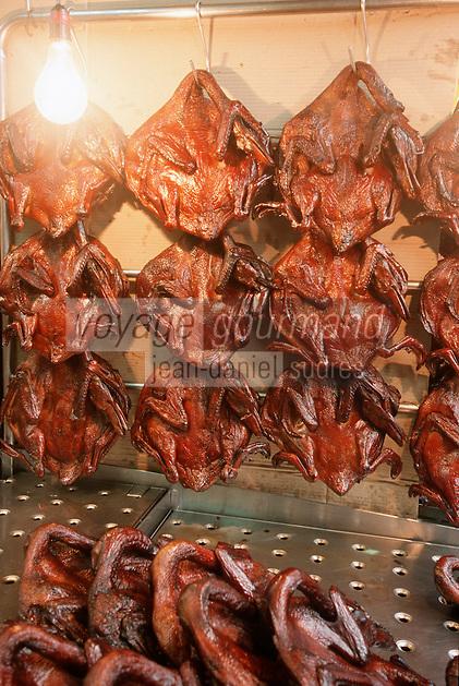 Thaïlande/Bangkok: Quartier chinois - Détail d'un étal de canards laqués