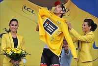 Fabian Cancellara (Swi)  -  RadioShack Nissan Team ..Podium .Rouen / St Quentin.5/7/2012.Tour de France - Vise / Tournai.Foto Insideofoto / Kalut - De Voecht / Photo News / Panoramic.ITALY ONLY