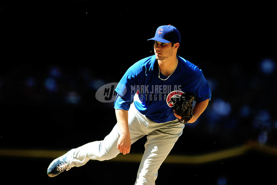 Apr. 3, 2010; Phoenix, AZ, USA; Chicago Cubs pitcher Randy Wells against the Arizona Diamondbacks at Chase Field. Mandatory Credit: Mark J. Rebilas-