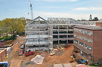 Camera View: South. Site Overview from Parking Garage, North Elevation. Central Connecticut State University. New Academic Building.  Project No: BI-RC-324.Architect: Burt Hill Kosar Rittelmann Associates. Contractor: Gilbane Building Company, Glastonbury, CT.Camera View: South. Site Overview from Parking Garage, North Elevation.