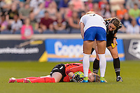 Bridgeview, IL - Saturday June 18, 2016: Libby Stout, Referee Danielle Brzezinski-Chesky during a regular season National Women's Soccer League (NWSL) match between the Chicago Red Stars and the Boston Breakers at Toyota Park.
