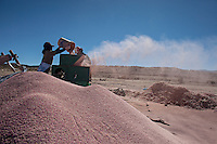 A picture dated April 5, 2013 shows a woman and a man cleaning their quinoa in the region of Belen, in Oruro, Bolivia.  2013  was declared the international year of Quinoa by the UN.  Bolivia is the main producer of quinoa in the world.