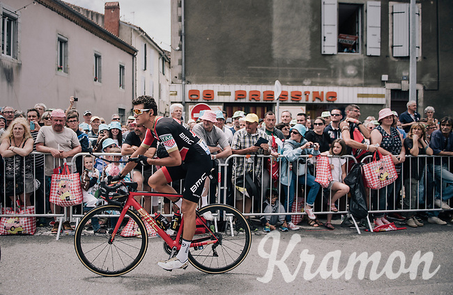 Greg Van Avermaet (BEL/BMC) & his GoPro-stick riding by in the start town of Saint-Girons<br /> <br /> 104th Tour de France 2017<br /> Stage 13 - Saint-Girons › Foix (100km)