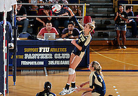 Florida International University women's volleyball player Una Trkulja (7) plays against Tulane University.  FIU won the match 3-2 on September 9, 2011 at Miami, Florida. .