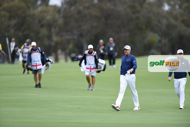 Ian Poulter (ENG) and Tyrrell Hatton (ENG) during the 3rd round of the World Cup of Golf, The Metropolitan Golf Club, The Metropolitan Golf Club, Victoria, Australia. 24/11/2018<br /> Picture: Golffile | Anthony Powter<br /> <br /> <br /> All photo usage must carry mandatory copyright credit (&copy; Golffile | Anthony Powter)