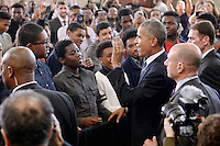 United States President Barack Obama greets students during a visit to Benjamin Banneker Academic High School to speak about the progress that has been made by his administration over the last eight years to improve education across the country on October 17, 2016 in Washington, DC. <br /> Credit: Olivier Douliery / Pool via CNP /MediaPunch
