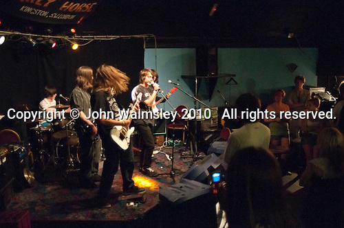 """Wino Wednesdays"" performing.  Students on the 2yrs National Diploma in Music course put on an evening of bands at the Grey Horse pub, Kingston upon Thames.  They would have organised everything themselves: marketing, DJ-ing, production and performing.  This band, ""Wino Wednesdays""."