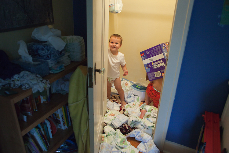 I wondered if I could leave the boys alone long enough to go check Facebook, and when I returned to find my younger son's closet covered in diapers, I realized that the answer was no. The boys are ages two and five.