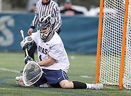 Washington, DC - April 7, 2018: Georgetown Hoyas Nick Marrocco (1) makes a save during game between Providence and Georgetown at  Cooper Field in Washington, DC.   (Photo by Elliott Brown/Media Images International)