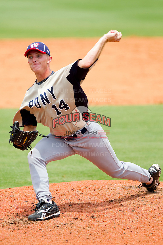 Matthew Crownover #14 of PONY in action against Dixie at the 2011 Tournament of Stars at the USA Baseball National Training Center on June 26, 2011 in Cary, North Carolina.  PONY defeated Dixie 4-3. (Brian Westerholt/Four Seam Images)