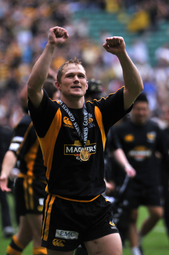 Photo: Tony Oudot/Richard Lane Photography. .Leicester Tigers v London Wasps. Guinness Premiership Final. 31/05/2008. .Josh Lewsey celebrates at the end of the match.