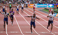 Chijindu Ujah of GBR crosses the line as Great Britain win the 4x100m Relay during the Sainsbury's Anniversary Games, Athletics event at the Olympic Park, London, England on 25 July 2015. Photo by Andy Rowland.